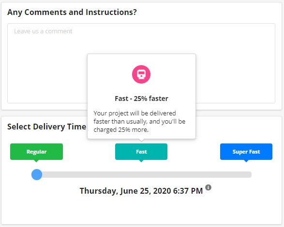 Select the delivery time in the Taia app