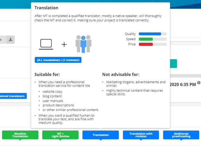 Service descriptions in the Taia app