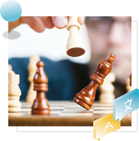 Header of page: Discover the best Google translate alternative showing the game of chess.