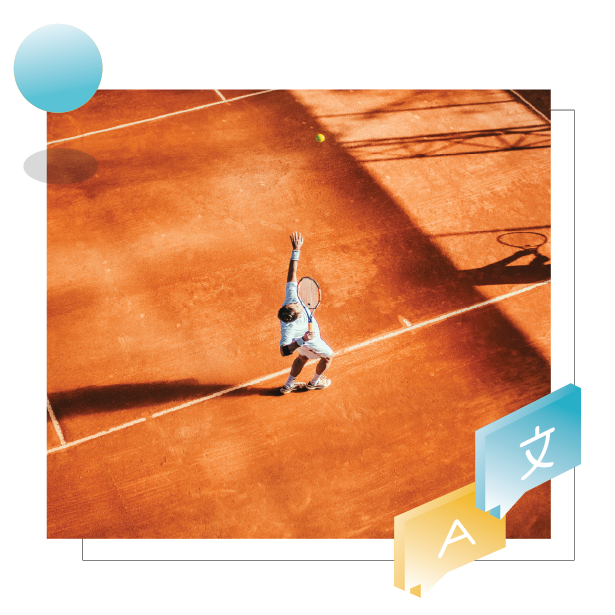 Header of page: Catapult vs. Lokalise. Picture shows a tennis player during match.